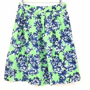 J. Crew A-Line Patio Skirt Size 0 Green Pleated